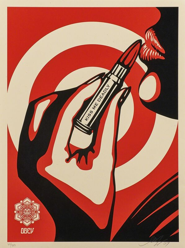 Shepard Fairey, 'Peace and Love Ornament (Holiday Edition), 2012;  Idiocracy, 2016; Kiss Me Deadly (Plain), 2007', Print, Three screenprints in colors, Rago/Wright/LAMA
