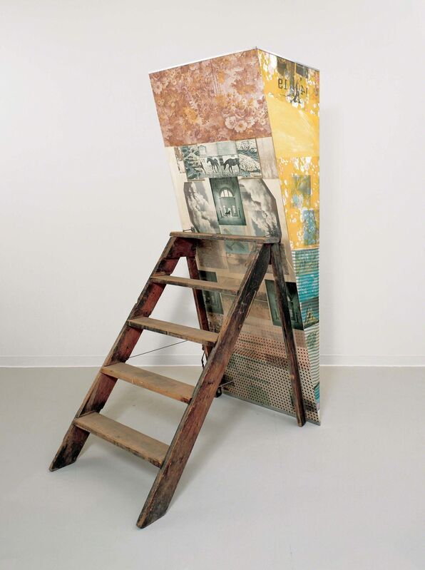 Robert Rauschenberg, 'Patrician Barnacle (Scale)', 1981, Solvent transfer, fabric collage, acrylic, mirrored panel, and reflector on wood support with stepladder, Robert Rauschenberg Foundation