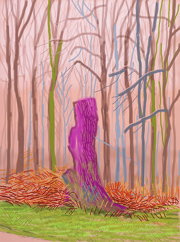 David Hockney, 'The Arrival of Spring in Woldgate, East Yorkshire in 2011 (twenty eleven) 15 March 2011', 2011, Print, IPad drawing printed on paper, DELAHUNTY