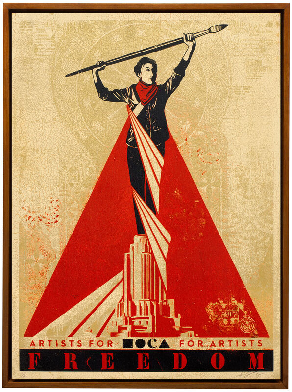Shepard Fairey, 'Artistic Freedom', 2015, Mixed Media, Silkscreen and Mixed Media Collage on Wood, HPM, Subliminal Projects