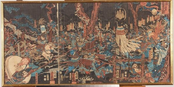 Utagawa Yoshiiku, 'The Great Battle of Kurikaradani between Kiso Yoshinaka and the General Taira Tomonori in 1183. (Juei ninen Kiso Yoshinaka Heishō Tomonori Kurikaradani ōgassen 寿永二年木曾義仲平将知度 倶利伽羅谷大合戦) ', 1857