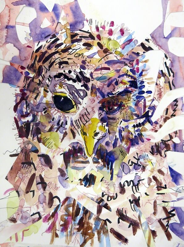 Jules Buck Jones, 'Owl Boy', 2015, Drawing, Collage or other Work on Paper, Collaged watercolor & ink on paper, Conduit Gallery