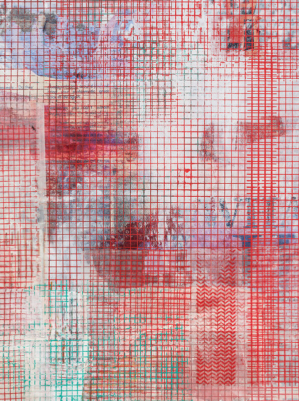 Mandy El-Sayegh, 'Net-Grid Study (Bread and Life)', 2021, Painting, Oil on silkscreened raw canvas, Make-A-Wish Foundation Benefit Auction