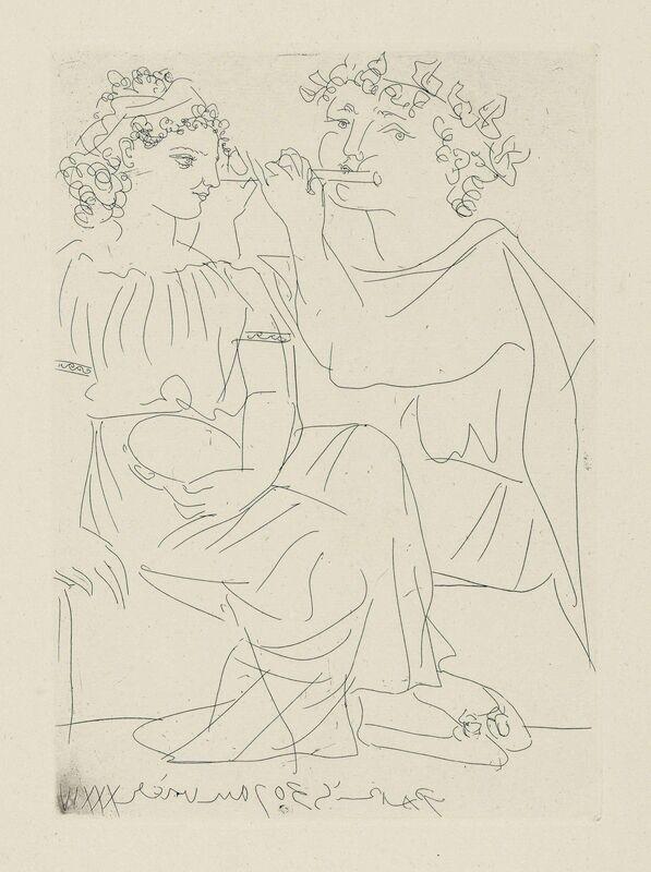 Pablo Picasso, 'Flûtiste et jeune fille au tambourin, from: La Suite Vollard', 1934, Print, Etching on Montval laid paper, Christie's