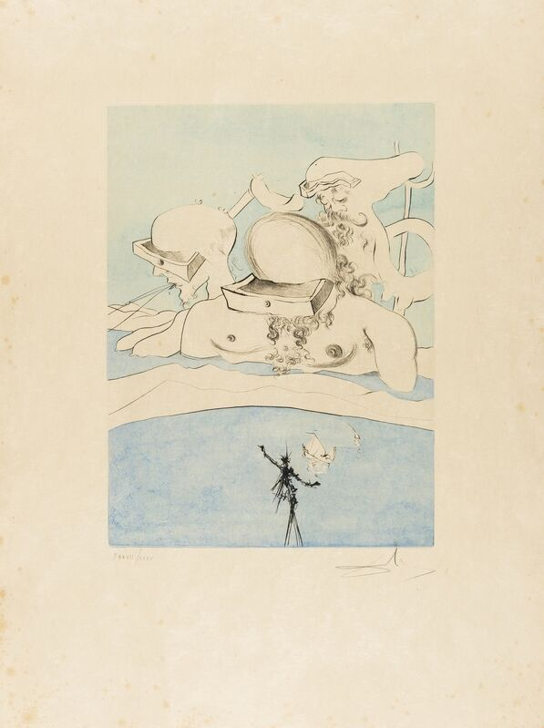 Salvador Dalí, 'Flung out like a Fag-end  by the Big-wigs (Field 74-8A; M&L 668d)', 1974, Print, Etching with extensive handcolouring, Forum Auctions