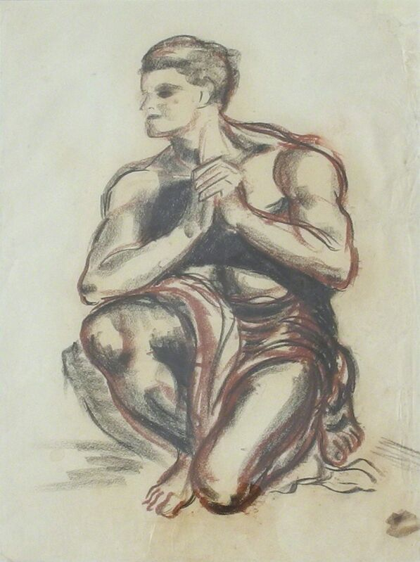 James Gleeson, '(Kneeling Nude – Study)', ca. 1945, Drawing, Collage or other Work on Paper, Charcoal and conte on paper, Charles Nodrum Gallery