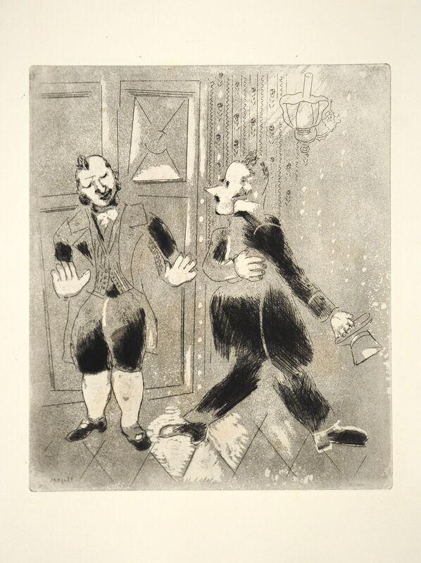 Marc Chagall, 'The Swiss Footman Refuses Chichikov Entry', 1948, Print, Etching, Goldmark Gallery