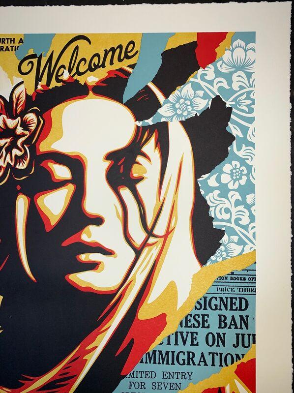 Shepard Fairey, 'Shepard Fairey Welcome Visitor Letterpress 2020 Aardvark Letterpress Obey Giant ', 2020, Print, Crane's Lettra Ecru 110# Fine Art Paper, New Union Gallery