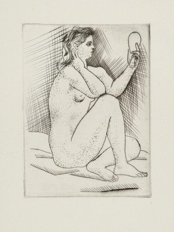 Pablo Picasso, 'FEMME AU MIROIR', 1922, Print, Original drypoint printed in black ink on antique laid paper bearing an unidentified watermark., Christopher-Clark Fine Art