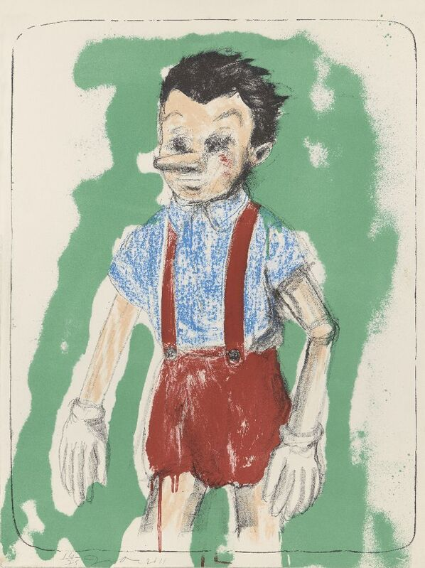 Jim Dine, 'Pinocchio coming from the Green', 2011, Print, Lithograph in colours on wove, Roseberys