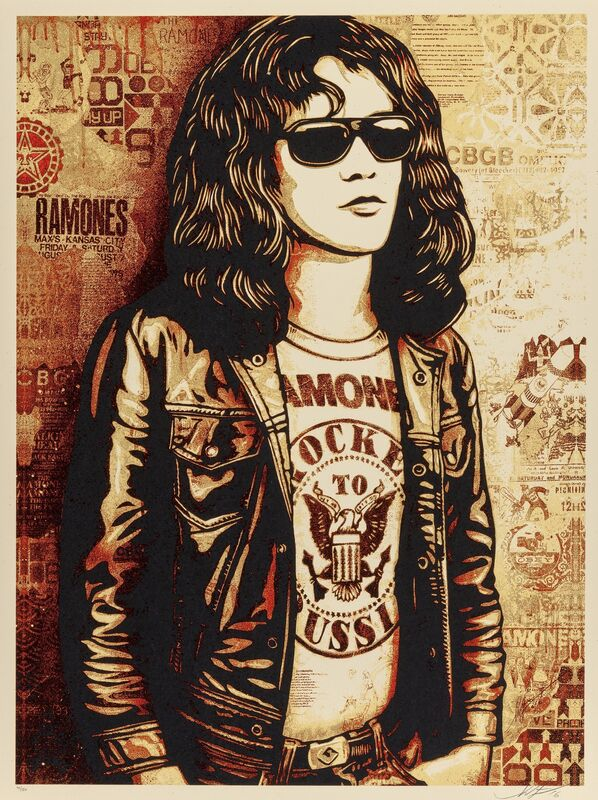 Shepard Fairey, 'Tommy Ramone Collage (Gold and Red) (two works)', 2016, Print, Screenprints in colors on speckled cream paper, Heritage Auctions