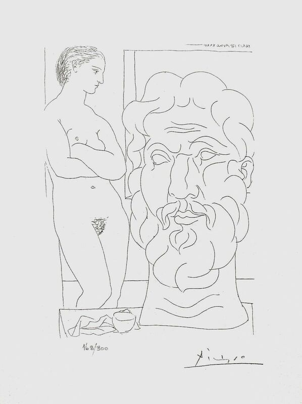 Pablo Picasso, 'Model & Sculptured Head', 1990, Reproduction, Lithograph on wove paper, Art Commerce
