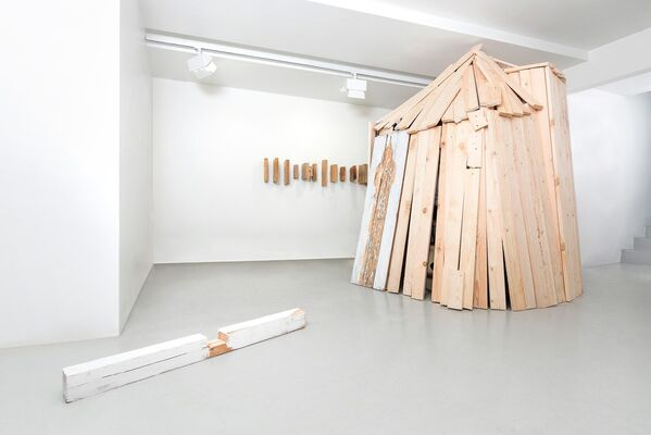 """Nestor Engelke. """"Woodman & Partners"""" Architecture Bureau, or The Paradise Built by Me, installation view"""
