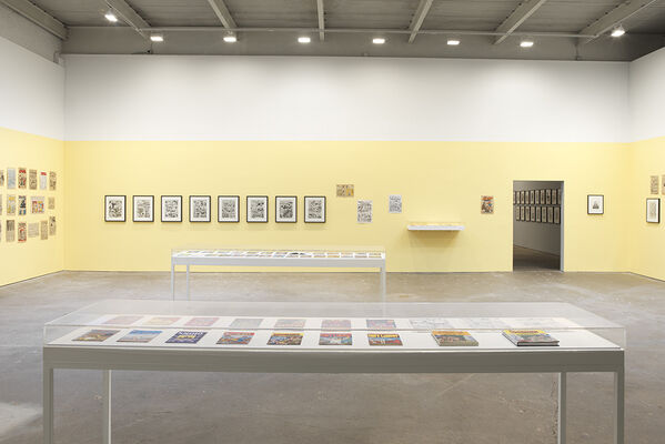 Drawing for Print: Mind Fucks, Kultur Klashes, Pulp Fiction & Pulp Fact by the Illustrious R. Crumb, installation view