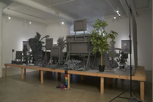 Stephanie Syjuco, Neutral Calibration Studies (Ornament + Crime), installation view