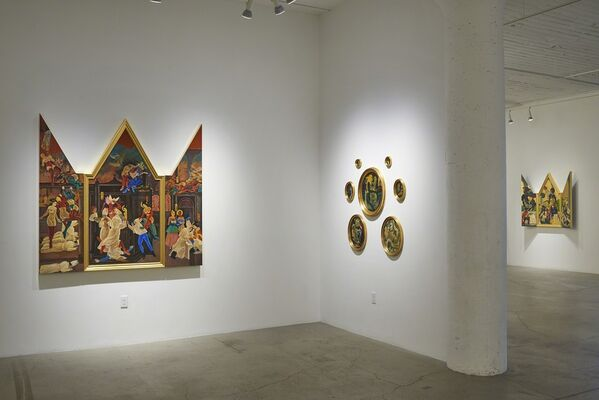 Masami Teraoka's Apocalyptic Theater/The Pope, Putin, Peach Boy, and Pussy Riot Galore, installation view