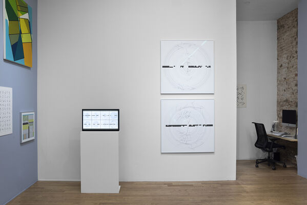 "Manfred Mohr, ""A Formal Language:  Celebrating 50 Years of Artwork and Algorithms"", installation view"