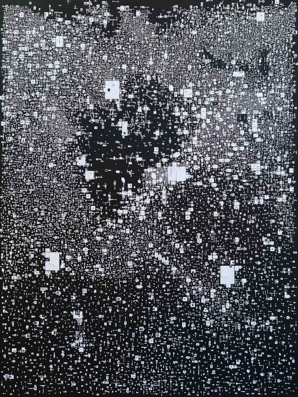 Marco Maggi, 'Waiting to Surface (white on black)', 2019, Drawing, Collage or other Work on Paper, Cut paper on Dibond, Hosfelt Gallery