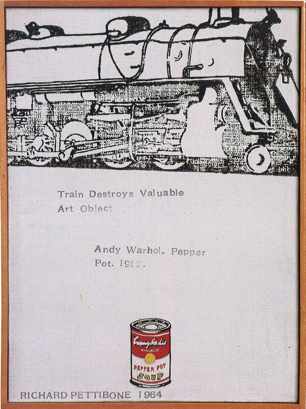 """Richard Pettibone, 'Train Destroys Valuable Art Object; Andy Warhol, """"Campbell's Soup Can (Pepper Pot)"""", 1962', 1964, Painting, Acrylic, oil and rubberstamp on canvas in artist's frame, Collectors Contemporary"""