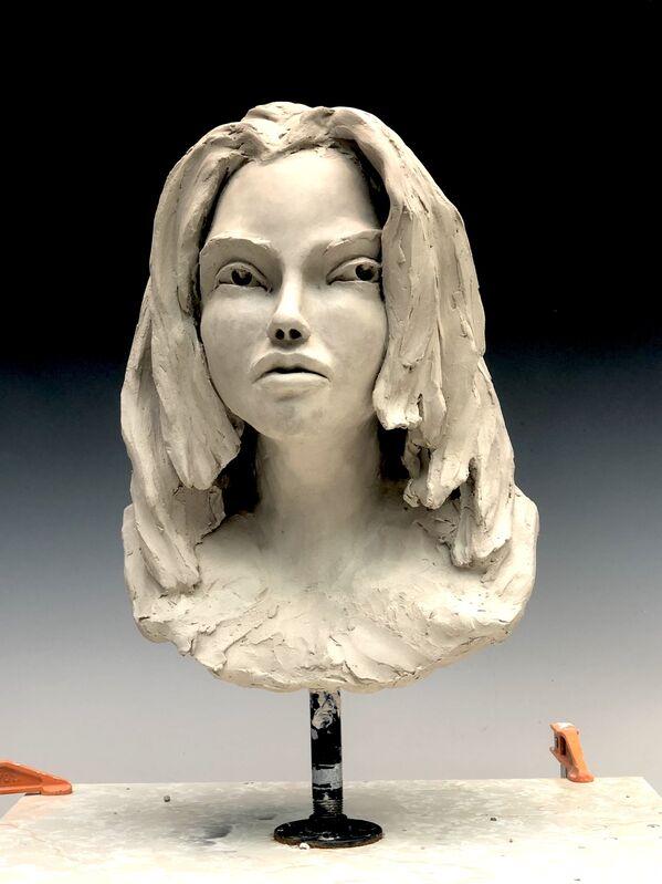 BOB CLYATT, 'Woman's Head- Tom Tom Club', 2019, Sculpture, Stoneware, glaze patina, steel pedestal, Maria Elena Kravetz