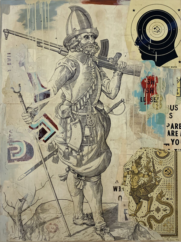 Ravi Zupa, 'MIGHTIEST WEAPON', 2020, Painting, Acrylic paint, acrylic ink, India ink, color pencil, graphite, relief print, and screen print on paper mounted to wood, MAIA Contemporary