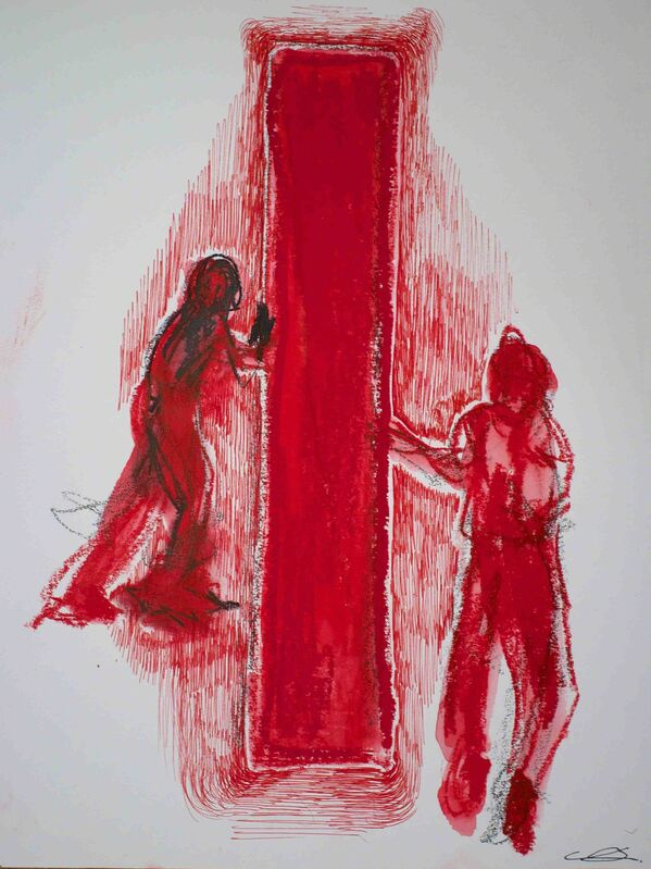 Chiharu Shiota, 'Red Door', 2013, Drawing, Collage or other Work on Paper, Oil and watercolor on paper, NF/ NIEVES FERNANDEZ
