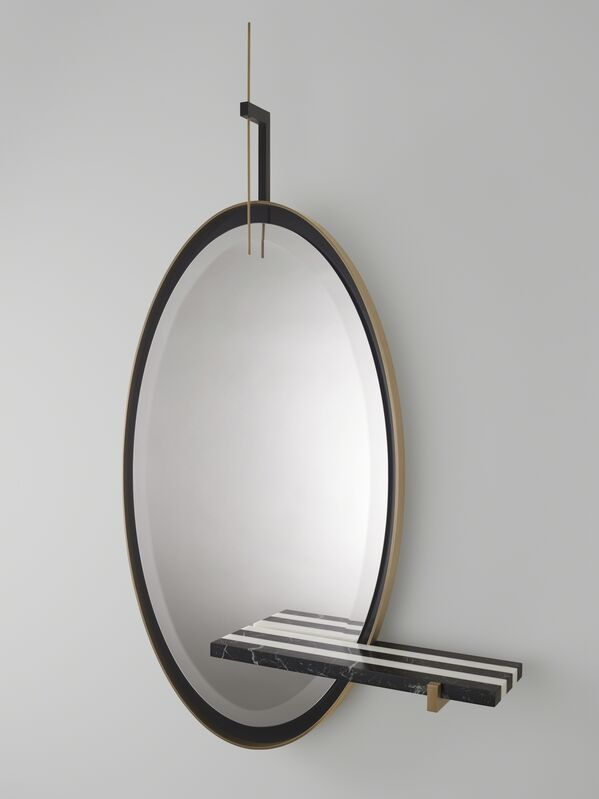 Isabelle Stanislas, ''Ellipse' Mirror by Isabelle Stanislas', 2019, Design/Decorative Art, Mirror with marble shelf, bronze-colored and black-colored patinated brass, black Marquina marble, white Estremoz marble, oval bevelled mirror on 4 cm., Galerie BSL