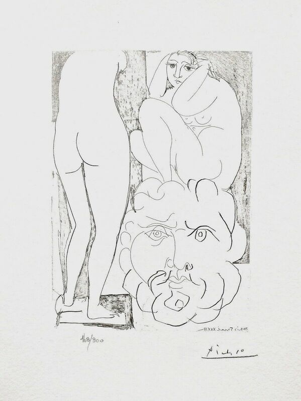Pablo Picasso, 'Crouching Model Nude & Sculptured Head', 1990, Reproduction, Lithograph on wove paper, Art Commerce