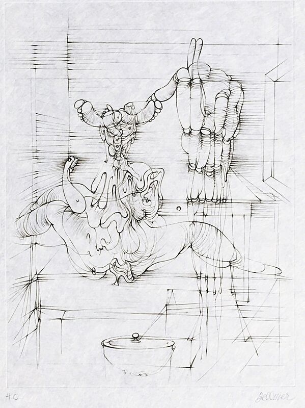 """Hans Bellmer, 'Untitled, from the portfolio """"Hommage à Picasso"""" (Homage to Picasso)', 1973, Print, Single Color Etching with Deckled Edges. Hand Signed and annotated Hors Commerce (Epreuve D'Artiste Numbered E.A. 4/15 on the colophon page.), Alpha 137 Gallery"""