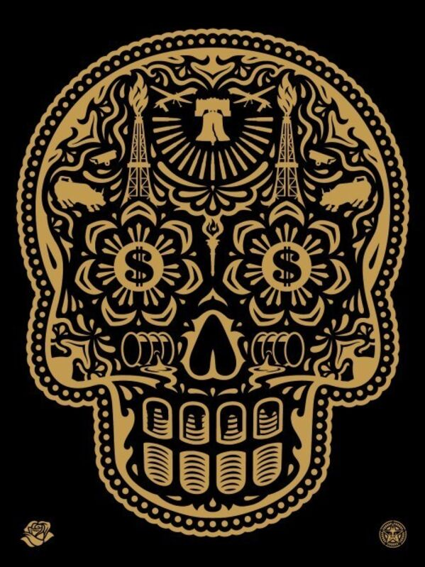 Shepard Fairey, 'Power & Glory Day of the Dead Skull (Gold)', 2014, Print, Screen print, Dope! Gallery