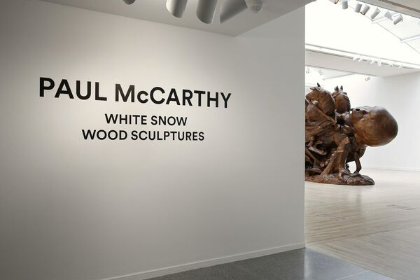 Paul McCarthy: White Snow, Wood Sculptures, installation view