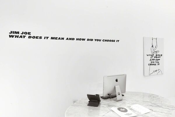 """JIM JOE """"WHAT DOES IT MEAN AND HOW DID YOU CHOOSE IT"""", installation view"""