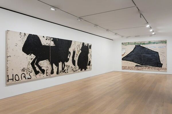 Rose Wylie Horse, Bird, Cat, installation view