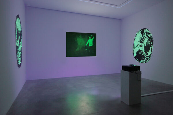 TONY OURSLER. Le volcan Poetics tattoo & UFO, installation view
