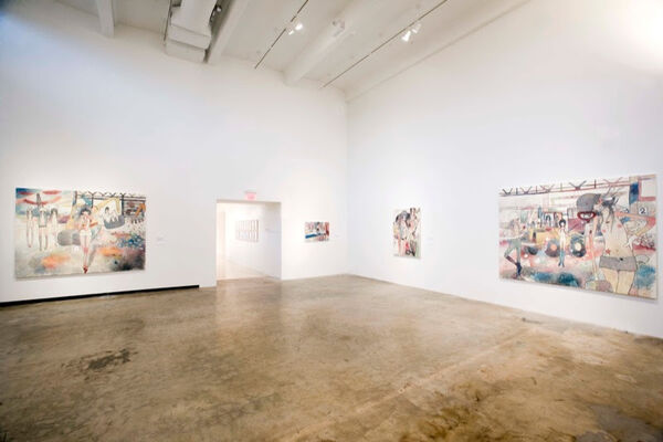 """Aya Takano: """"Wild dogs, hawks, owls, cats, a landfill the size of 44 and a half Tokyo Domes, the stratosphere"""", installation view"""