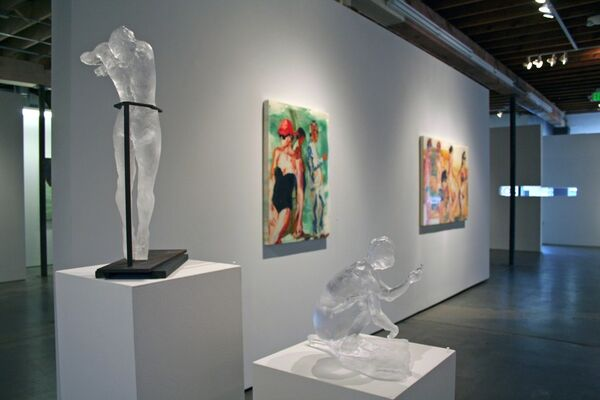 """Dustin Yellin & Eric Fischl : """"Narratives in Glass: and other mediums"""", installation view"""