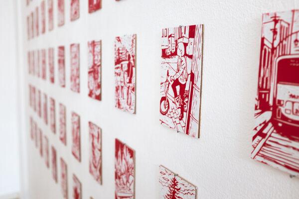 red hot - new woodblock cutouts by Kenichi Yokono, installation view