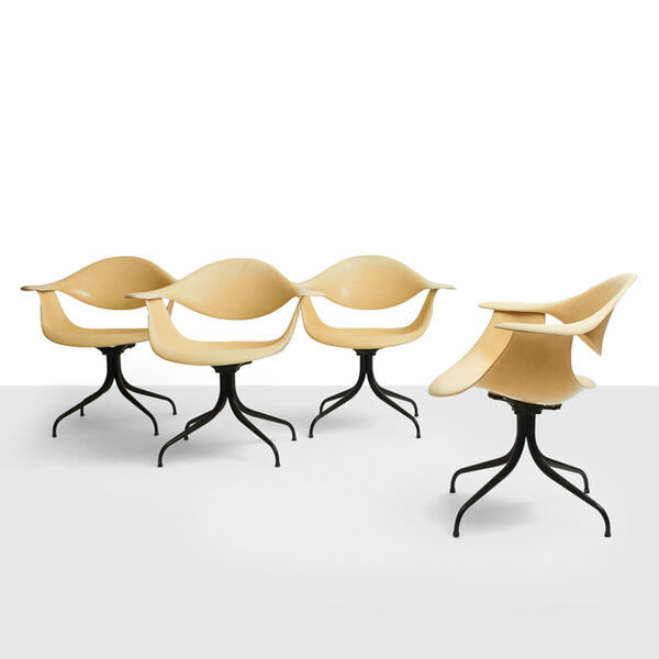 George Nelson, 'George Nelson, Limited Edition DAF Swag Leg Dining Chairs', ca. 1958