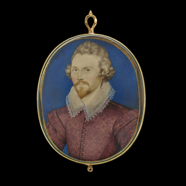 Nicholas Hilliard, 'A Gentleman, wearing deep-pink 'pinked' doublet and white lawn collar trimmed with lace', ca. 1590