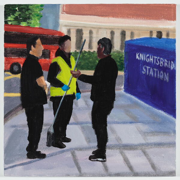 Ramiro Gomez, 'A conversation between three workers (Knightsbridge Station)', 2018