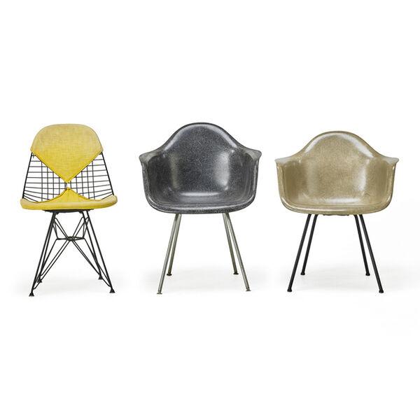 Charles Eames, 'Molded Plastic Four-Leg Armchair (Dax), Wire Chair (Dkr), And Molded Plastic Wire-Base Armchair (Dar), Zeeland, MI', 1950s-60s