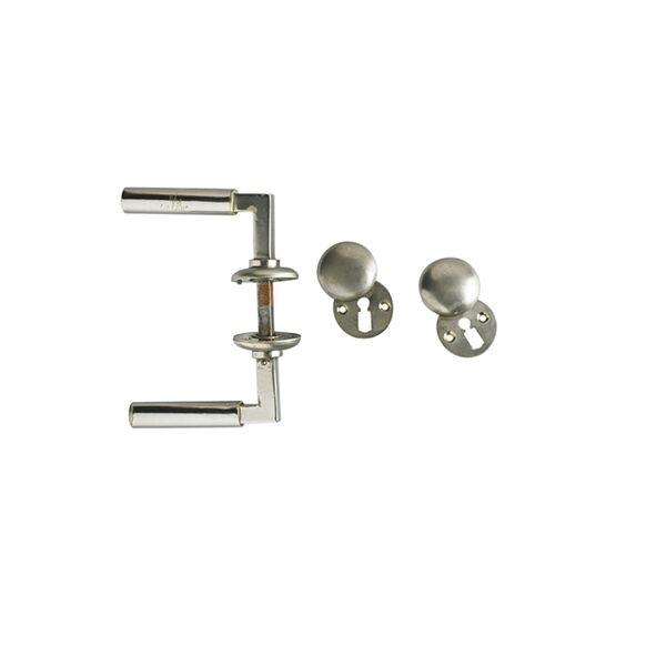 Walter Gropius, 'Set of two nickel-plated bronze and steel door handles, lock and lock plates', 1920s