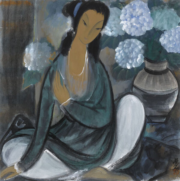 Lin Fengmian, 'Seated Lady and Dahlia', 20th century