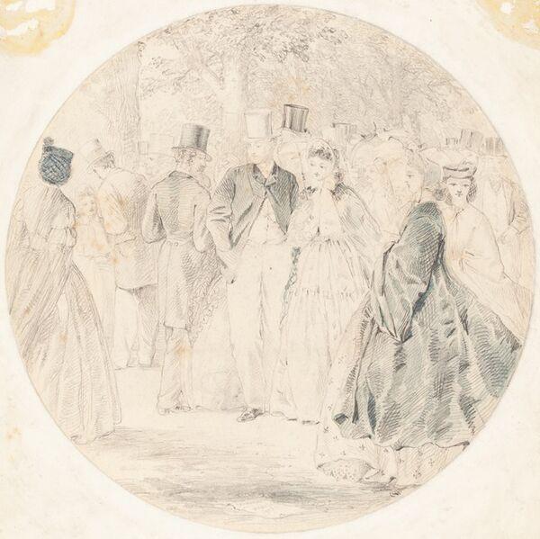 Walter Crane, 'Kensington Gardens [recto]', 1863
