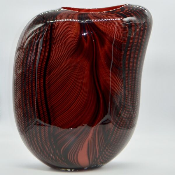 Massimiliano Schiavon, 'Glass Vase Carnivale Waves, Red and Black ', 2017