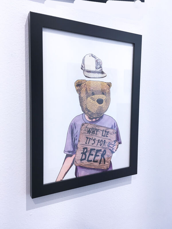 Sean 9 Lugo, 'Why Lie It's For Beer', 2019, Drawing, Collage or other Work on Paper, Marker and ink on Bristol paper, framed, Deep Space Gallery