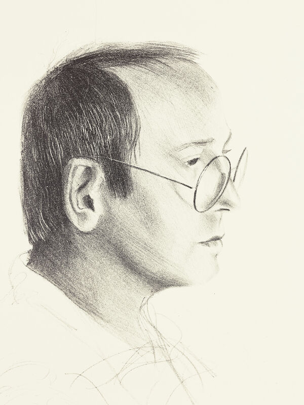 David Hockney, 'Mo McDermott', 1976, Print, Lithograph on buff Arches cover, mould-made paper, Petersburg Press