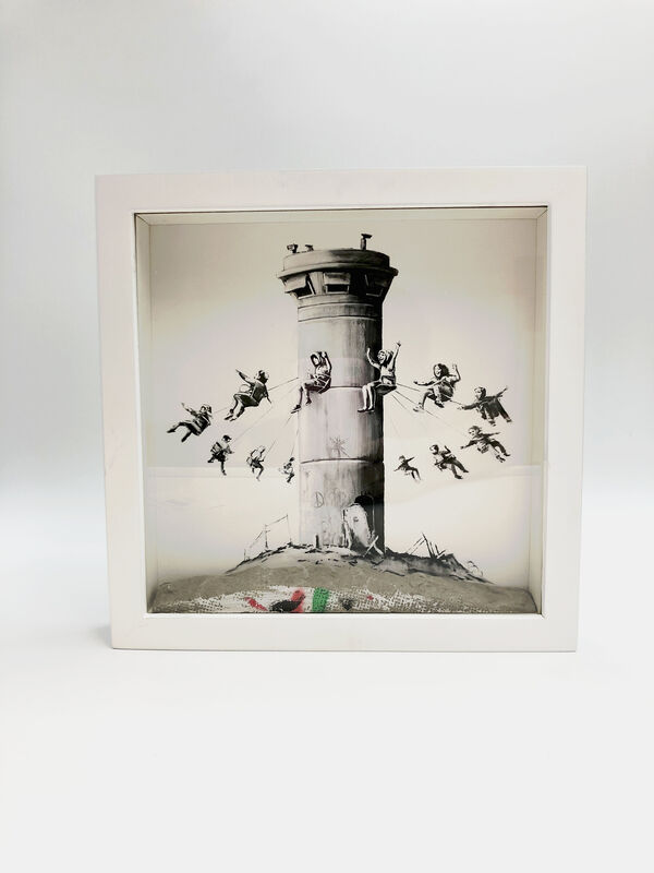 Banksy, 'Walled Off Hotel - Box Set', 2017, Sculpture, Art print housed in a locally sourced frame from Bethlehem with a chunk of concrete, Lougher Contemporary Gallery Auction