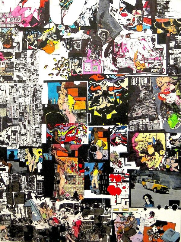Zak Smith, 'She's Trouble, She's Trouble, She's Trouble', 2013, Drawing, Collage or other Work on Paper, Ink and acrylic on paper, Fredericks & Freiser