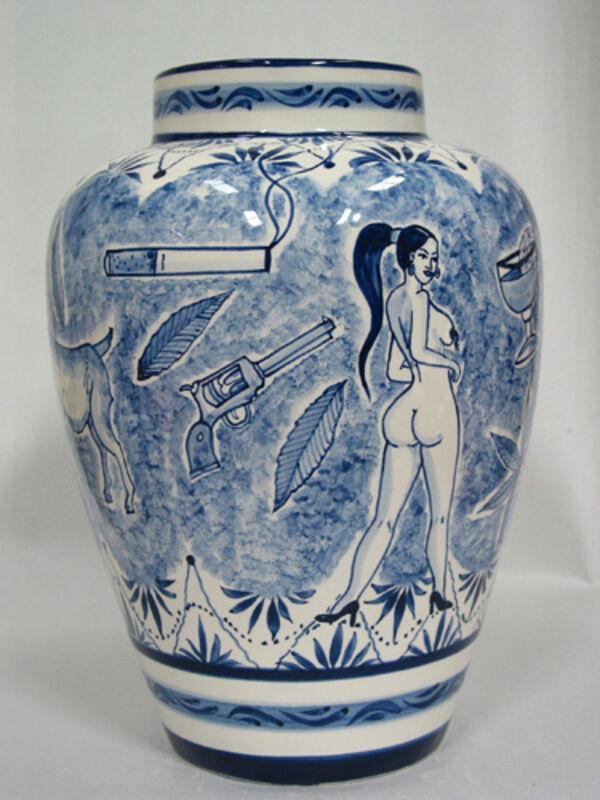 Eduardo Sarabia, 'A thin line between love and hate 38', 2005, Design/Decorative Art, Hand-painted ceramic vase, silkscreen box, Museum of Arts and Design